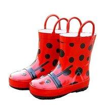 Cute Starry Kids' Rain Boots Red Ladybird Children Rainy Days Shoes 16.5CM
