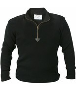 Black Acrylic Commando Military Quarter Zip Sweater with Suede Patches - $36.99+