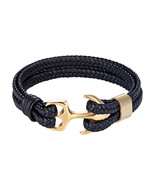 Tom Hope Fashion Black Gold Silver Color Anchor Bracelets Men Charm Surv... - €13,63 EUR
