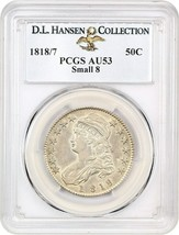 1818/7 50c PCGS AU53 (Small 8) ex: D.L. Hansen - Scarce Overdate Variety - $1,901.20
