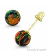 Fiery Black Synthetic Opal Round Ball Screwback Stud Earrings in 14k Yel... - $28.95