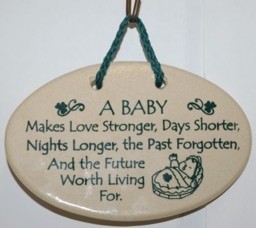 Mountaine Meadows Baby Theme Plaque Oval Shaped Hand made Produced in America