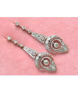 ANTIQUE ART DECO 1.67ctw DIAMOND PLATINUM 18K LONG CHANDELIER EARRINGS 1920 - £3,176.13 GBP