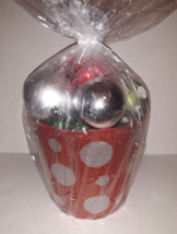 Red & Silver Bucket of 12 Christmas Ornaments Balls Polka Dot Glitter Sh... - $8.41