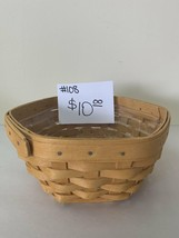 "1998 Longaberger Octagon Basket 6 1/2""d with plastic liner - $10.00"