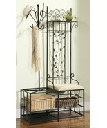 Black Metal Hall Tree Cushion Bench Coat Rack Storage Basket Umbrella St... - $162.26