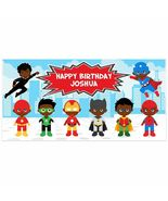 Superhero Birthday Banner Personalized Party Backdrop Decoration - $22.28+