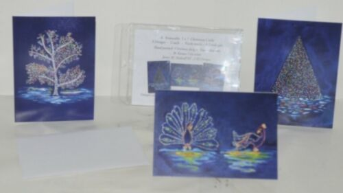 Painted Trees Peacocks Frameable 5X7 Christmas Card 3 Designs Package 6