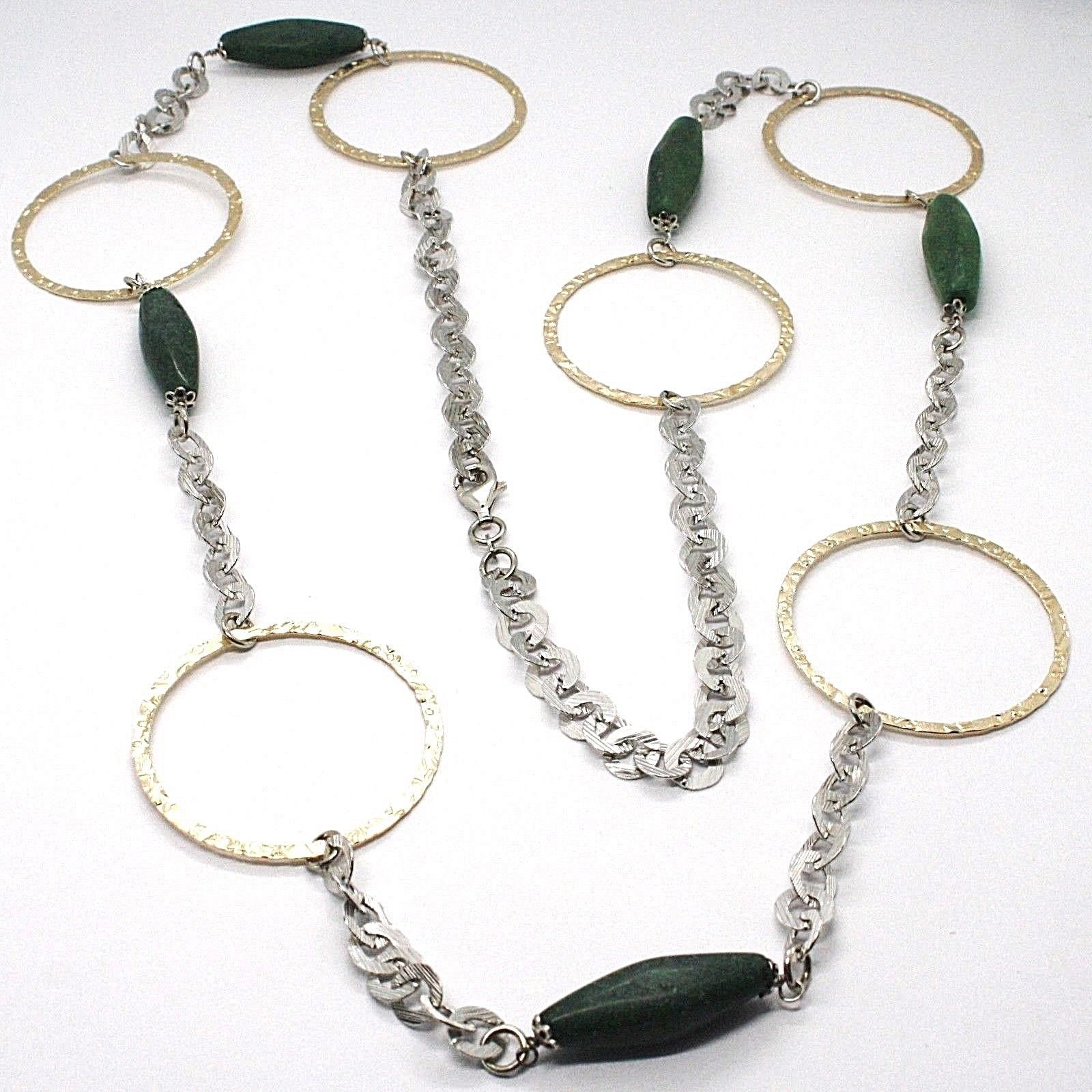 925 Silver Necklace, Jade Green, Yellow Circles, 100 CM, Rolo hammer