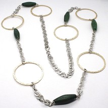 925 Silver Necklace, Jade Green, Yellow Circles, 100 CM, Rolo hammer image 1