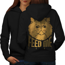 Feed me Offensive Cat Sweatshirt Hoody Grumpy Cat Women Hoodie Back - $21.99+
