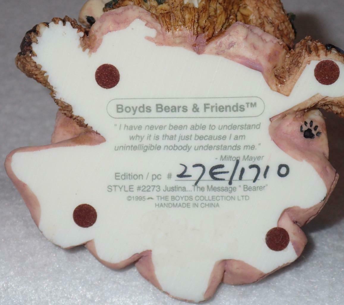 Boyd Bearstone Resin Bears Justina The Message Bearer Figurine #2273 27E NEW image 8