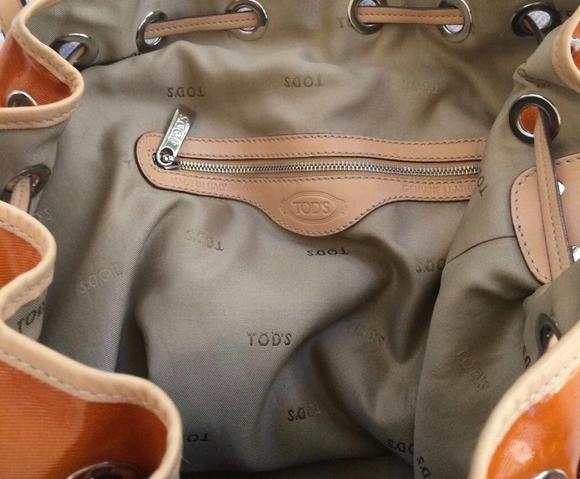 390e7319b5c36 Authentic Tod's orange coated canvas drawstring bucket bag