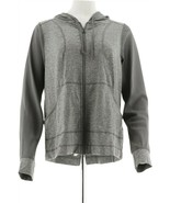 AnyBody Move Zip Up Jacket Hthr Charcoal XL NEW A306093 - $45.52