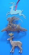 Lot 3 Vintage REINDEER Christmas Ornaments - Wire, Wood & Metal - $10.00