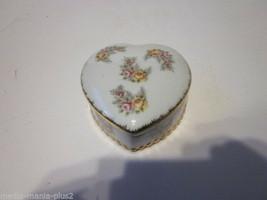 Vintage Yellow & Pink Rose Design Porcelain Enesco Heart Shaped Trinket Box - $9.99