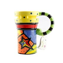 Kylin Express Painted Creative Mug Ceramic Cup Lid with Spoon, Large Capacity Cu - $23.80