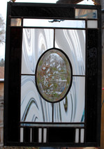 Stained Glass Window Panel Black & White Music Note piano - $97.00