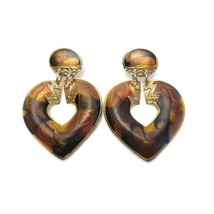 Vintage Gold Tone Swirled Browns Heart Dangle Earrings Excellent Condition - $13.85
