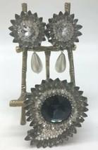 Vintage Deanna Hamro Los Angeles Rhinestone Faux Pearl Pin Clip Earring Set - $265.89