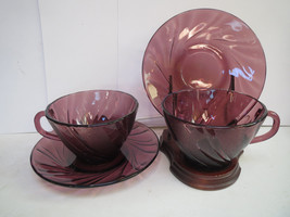 DURALEX FRANCE AMETHYST GLASS SWIRLED PATTERN PAIR OF CUPS AND SAUCERS - $25.00