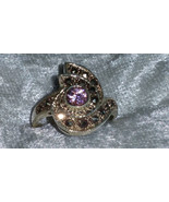 Vintage 9.25 Pink ice Marcasite Sterling silver ring  Downton Abbey size 7 - $35.00
