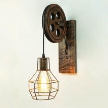 Vintage Iron Wall Mounted Pulley Light Lamp Retro Industrial Wheel Rusti... - $18.99