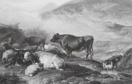 ENGLAND Morning in Cumberland Mountains Cattle Goats - SUPERB 1849 Antiq... - $31.50