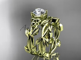 Celtic knot yellow leaf wedding ring set with a Moissanite center stone ... - $1,375.00