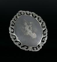 Vintage .925 Sterling Silver Signed SIAM Gray Hindu God Scroll Brooch Pi... - $45.43