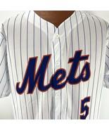 New York Mets Wright 5 Pinstripe Jersey XL White Button Down Shirt Baseb... - $39.59