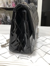 AUTHENTIC CHANEL REISSUE 227 BLACK PATENT LEATHER JUMBO CLASSIC FLAP BAG SHW image 2