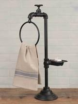 Iron Bathroom Kitchen Water Spigot Towel Rack Soap Dish Holder Rustic Vi... - $28.22