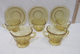 Depression Amber Glass Federal Madrid Sugar Creamer 3 Cups & Saucers Lot... - $22.76