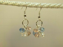 Cluster Pink Blue and Clear Crystal Earrings Petite HM - $10.99