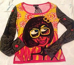 CUSTO BARCELONA Long Sleeved 70's Girl Top Two ... - $28.71