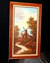 Wood framed Windmill Oil Painting AA20-2342 Vintage