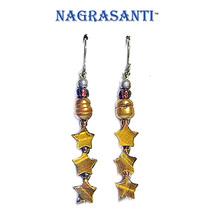 Nagrasanti Pearl/Tiger Eye Stars Dangle Earrings - €13,90 EUR