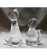 Pair of Hand Crafted Art Glass  Cats ~Paperweights~Display Pieces - $14.99