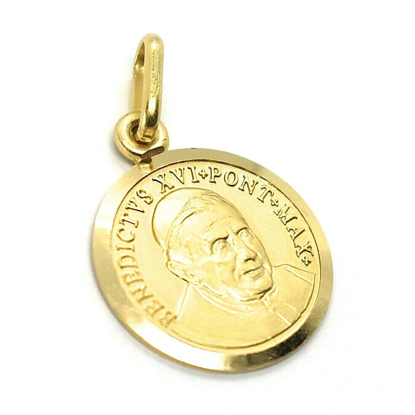 SOLID 18K YELLOW GOLD POPE BENEDICT XVI, 15 MM MEDAL PENDANT, MADE IN ITALY