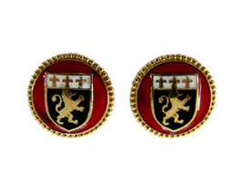 Vintage Coro Gold Tone & Enamel Heraldic Crest Earring Clips - $24.00