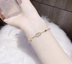 Auth NEW Christian Dior CLAIR D LUNE GOLD Crystal Pearl BRACELET  image 10