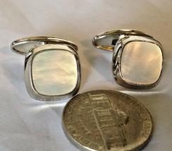 Vintage Mens Cuff-links Square MOP & Silver-tone Fancy Bent Bean Back - $10.97