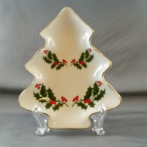 "Holiday Traditions Christmas Tree Shaped Holly Candy Dish 6"" Porcelain - $11.00"