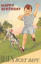 Belk's Boys Department Happy Birthday Curt Teich sample linen postcard - $7.43