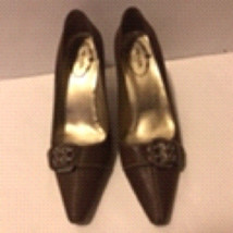 Prada Brown Leather Silver Buckle Pointed Toe Size 36 - $98.99