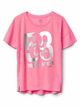 Gap Kids Girls Tee Shirt 6 7 8 Pink Silver Smurf Graphic Cotton Short Sl... - $15.99