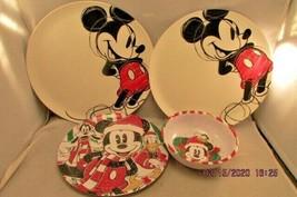 "Zak Designs Disney Mickey Mouse Melamine Plate White 10"" & Christmas Bowl plate - $23.12"