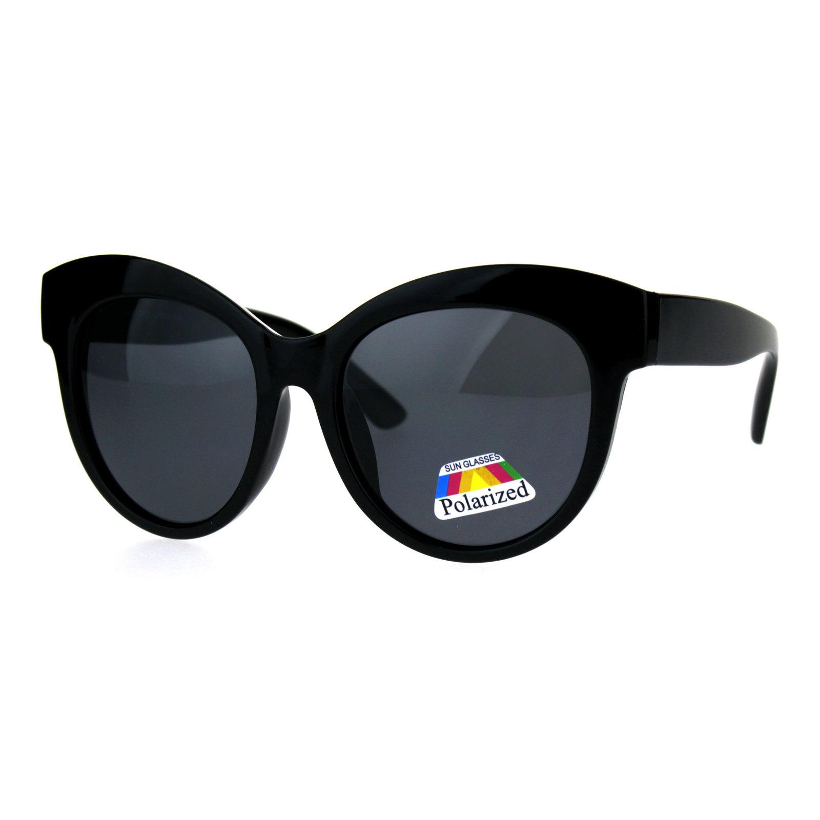 Antiglare Polarized Oversize Thick Plastic Cat Eye Diva Sunglasses