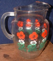 Vtg Swanky Swig Glass Water Ice Tea Pitcher W/Red & Green Flowers Ribbed... - $19.79